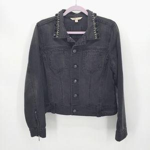 CAbi Black Denim Jacket With Embellished Collar